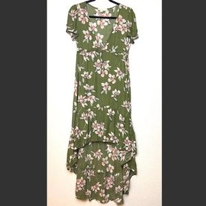 LOVESTITCH Green Floral High Low V-Neck Dress Sm